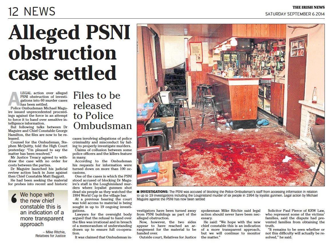 Alleged PSNI obstruction case settled - Irish News - 06.09.2014