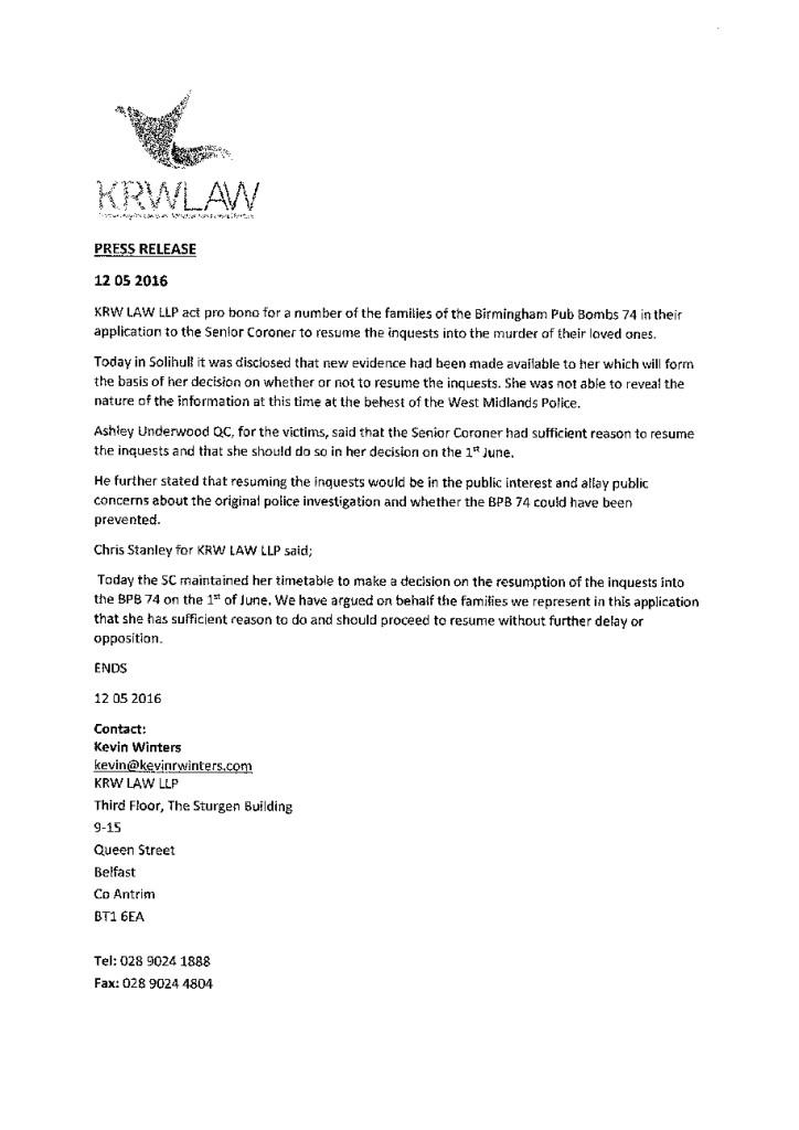 Birmingham Pub Bomb Press Release